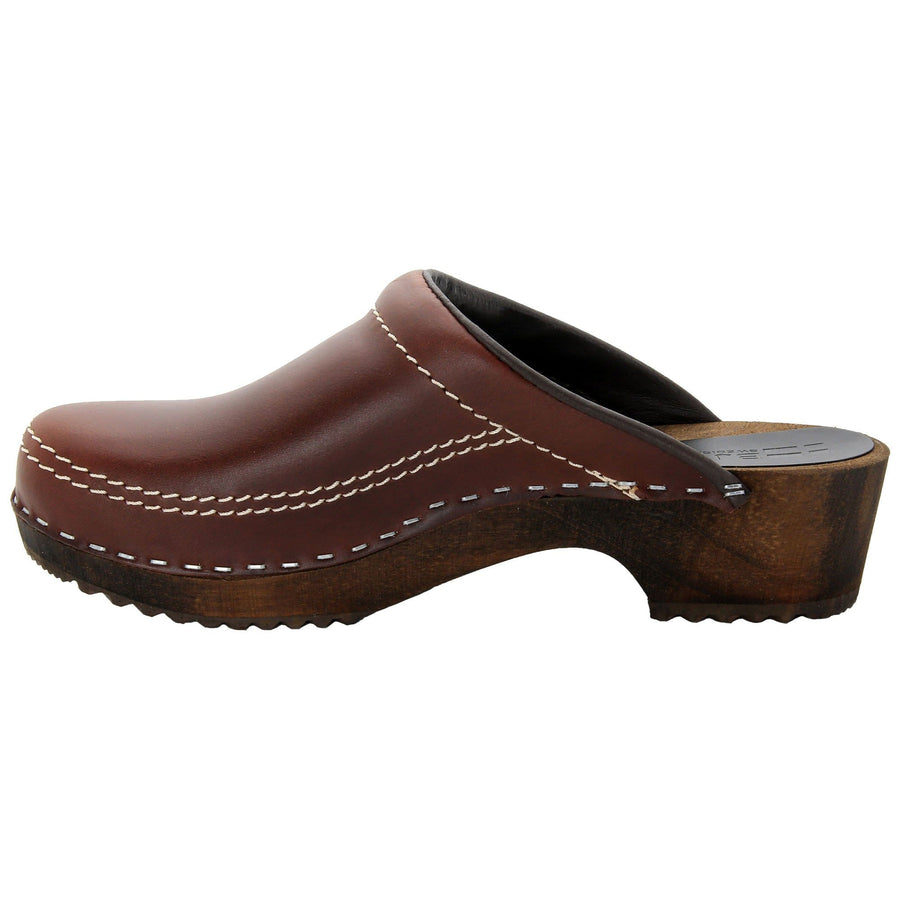 BJORK BJORK Men's Christian Wood Open Back Oiled Leather Clogs