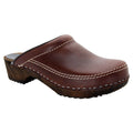 BJORK 610600-3-42 BJORK Men's Christian Wood Open Back Oiled Leather Clogs Brown / EU-42