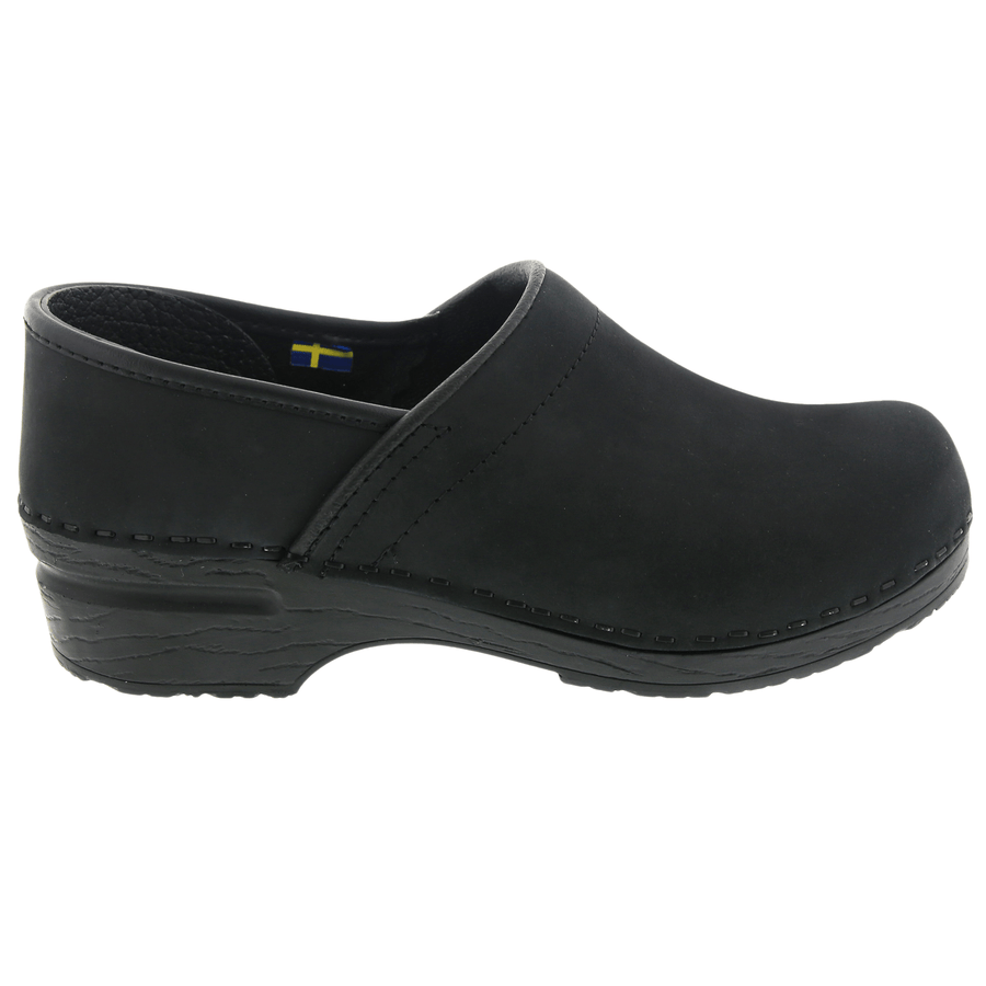 BJORK BJORK PRO LIAM Men's Black Oiled Leather Clogs
