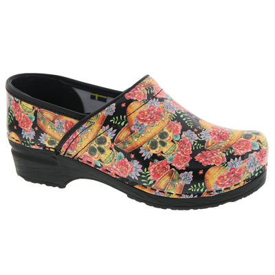 BJORK 757602-90-36 BJORK PRO VERA Limited Edition Sugar Skull Leather Clogs Multi / EU-36