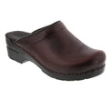 BJORK 715806-47-36 BJORK STELLA Open Back Cabrio Leather Clogs Bordeaux / EU-36
