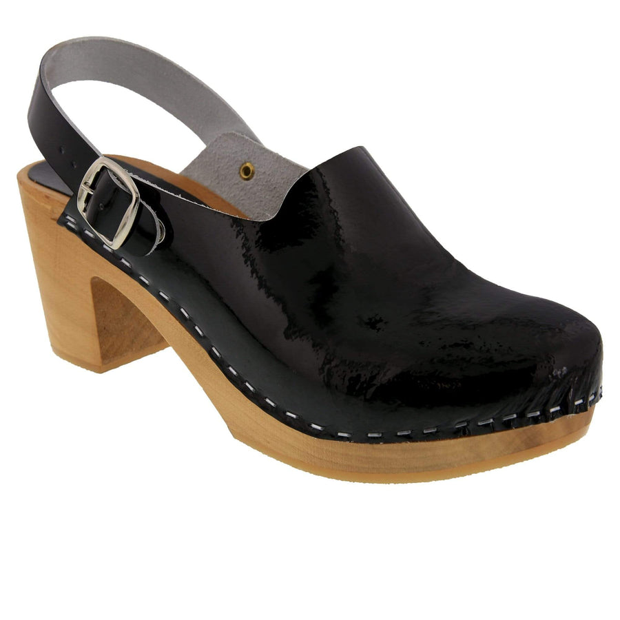BJORK 754401-2-36 BJORK SVEA Wood Fashion Clog Sandals in Patent Leather Black / EU-36