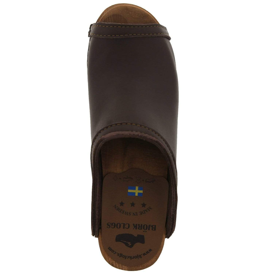 BJORK BJORK THALIA Swedish Wood Peep Toe Clogs in Brown Veg-Tan Leather