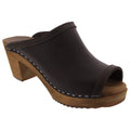 BJORK 651511-3-35 BJORK THALIA Swedish Wood Peep Toe Clogs in Brown Veg-Tan Leather Brown / EU-35