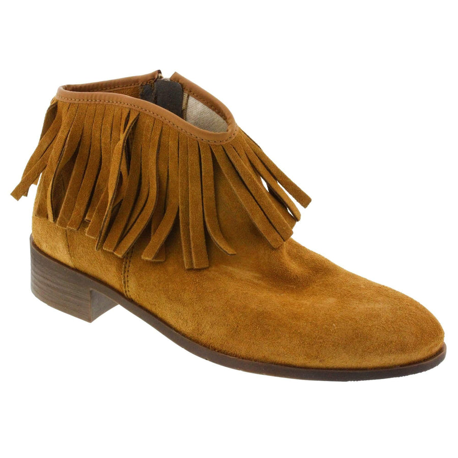 Creeks 253-359-36 CREEKS Journey Suede Western Bootie<br>Suede - Made in Spain Brown / EU-36