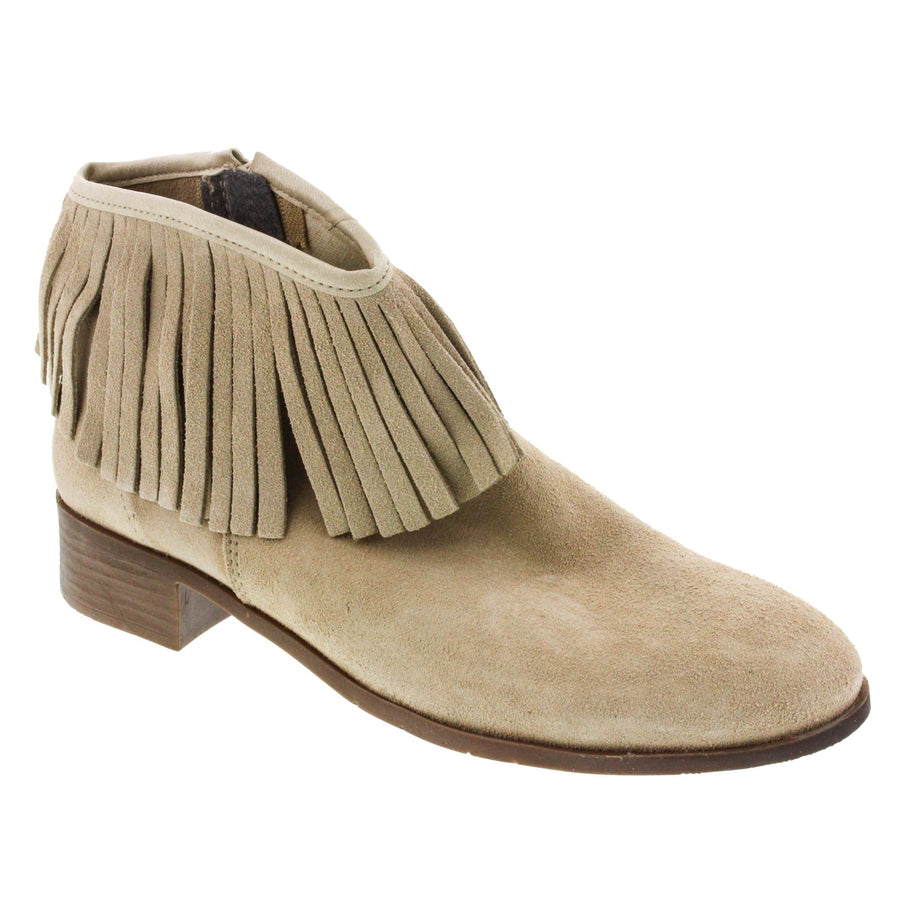 Creeks 653-359-36 CREEKS Journey Suede Western Bootie<br>Suede - Made in Spain Taupe / EU-36