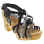 Creeks 158-102-37 CREEKS Nimah Wood Chunky Heels-Size 37 only Black Multi / EU-37