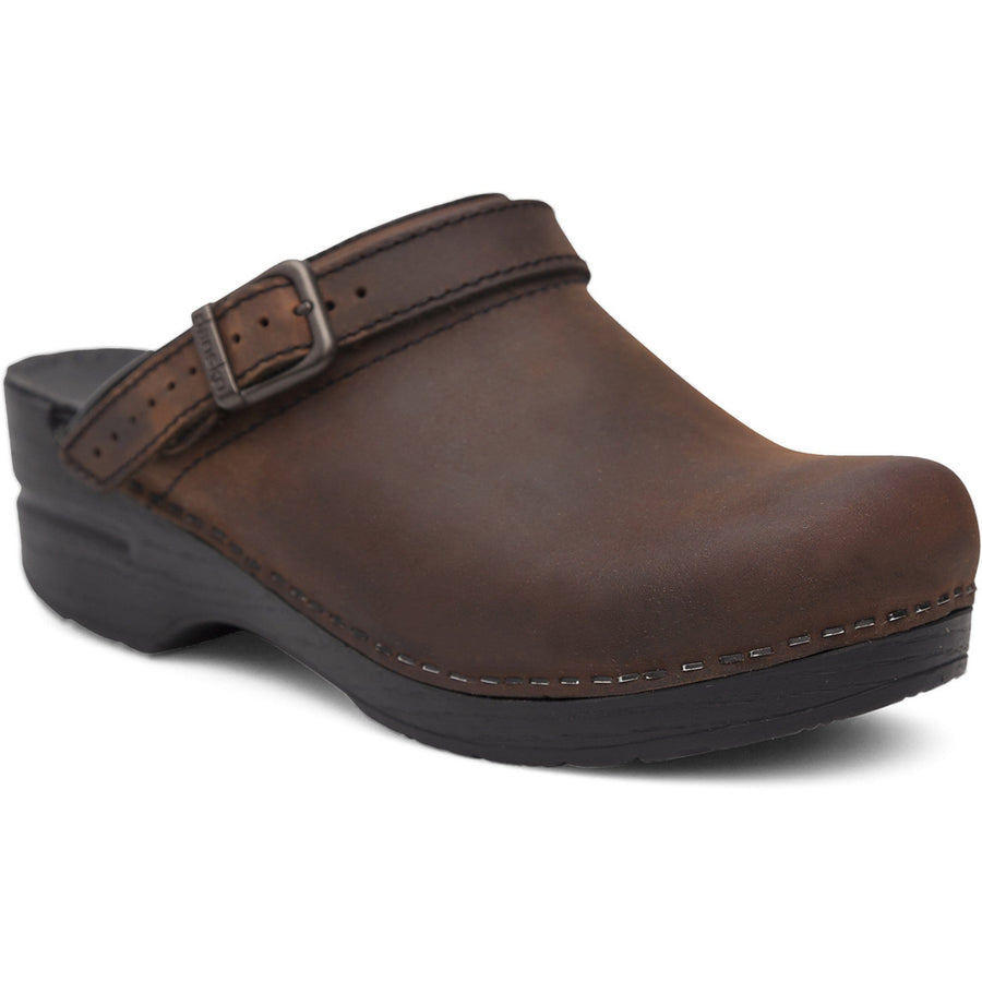 Dansko 238780202-36 DANSKO Ingrid Oiled Leather Open Back Clogs Antique Brown / EU-36