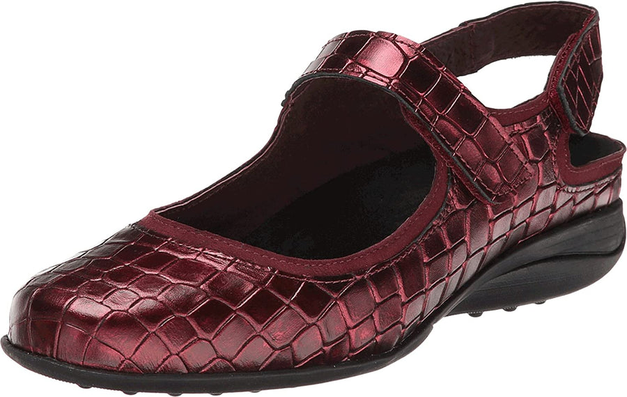 Helle Comfort HC-SAHARA-BLK-36 Helle Comfort Sahara Mary Jane Croco Leather Shoes Bordeaux / EU-36