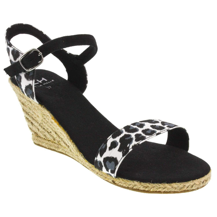 La Halle 386-353-37 LA HALLE Aria Open-toe Wedge Sandal-Size 37 only Black/White / EU-37