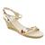 La Halle 686-353-41 LA HALLE Rosi Open-toe Wedge Sandal White Multi / EU-41