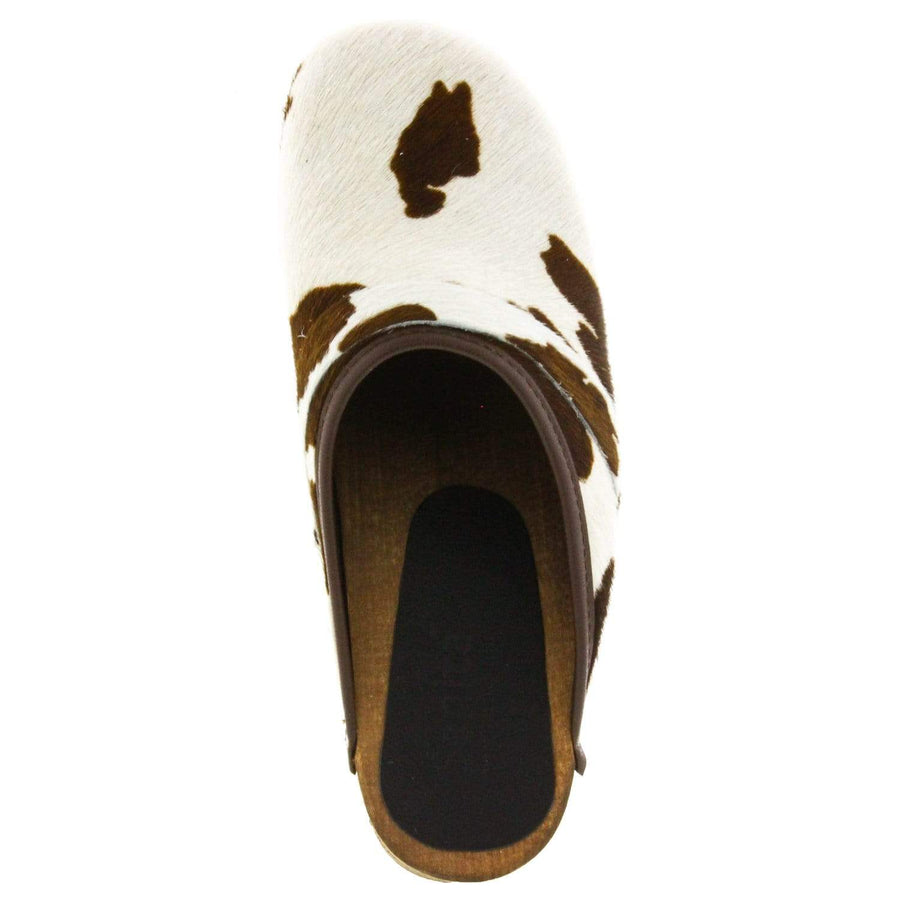 Sanita SANITA Caroline Safari Fur Open Back Wood Clogs