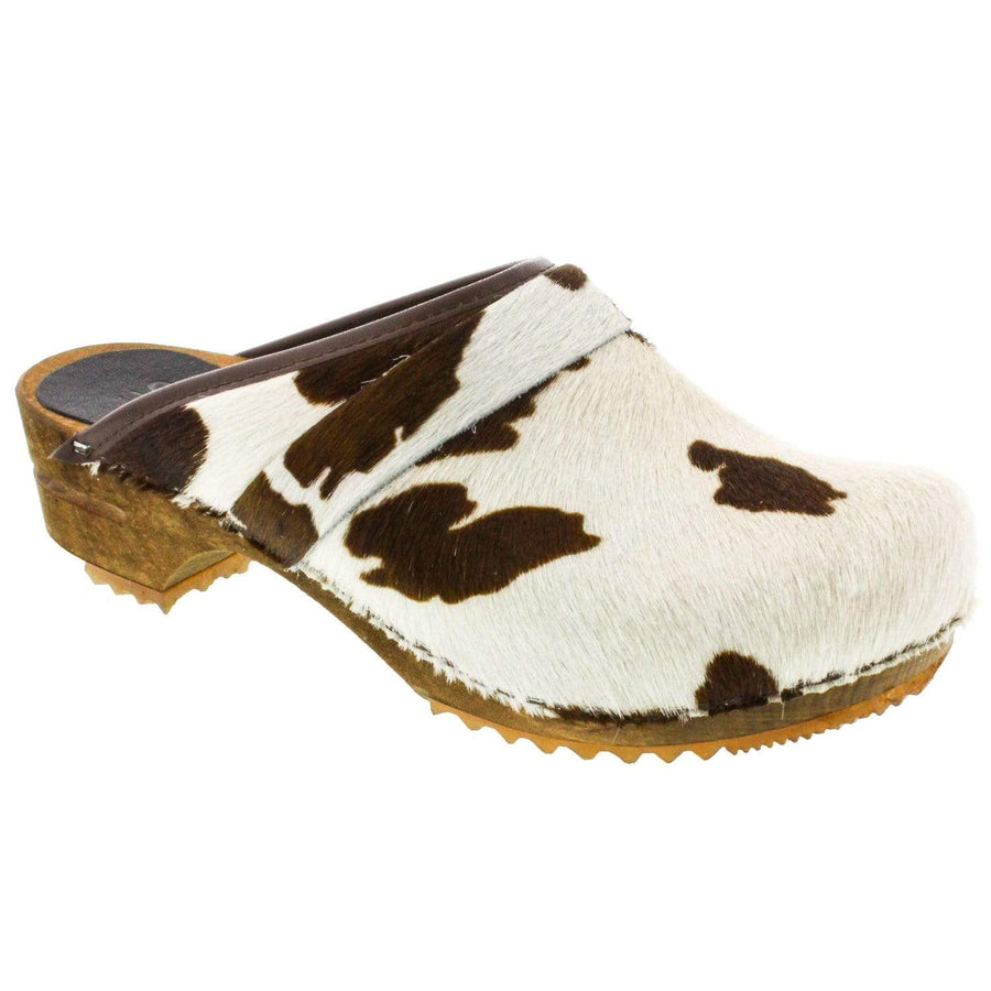 Sanita 1706199W-3-40 SANITA Caroline Safari Fur Open Back Wood Clogs Brown Cow / EU-40