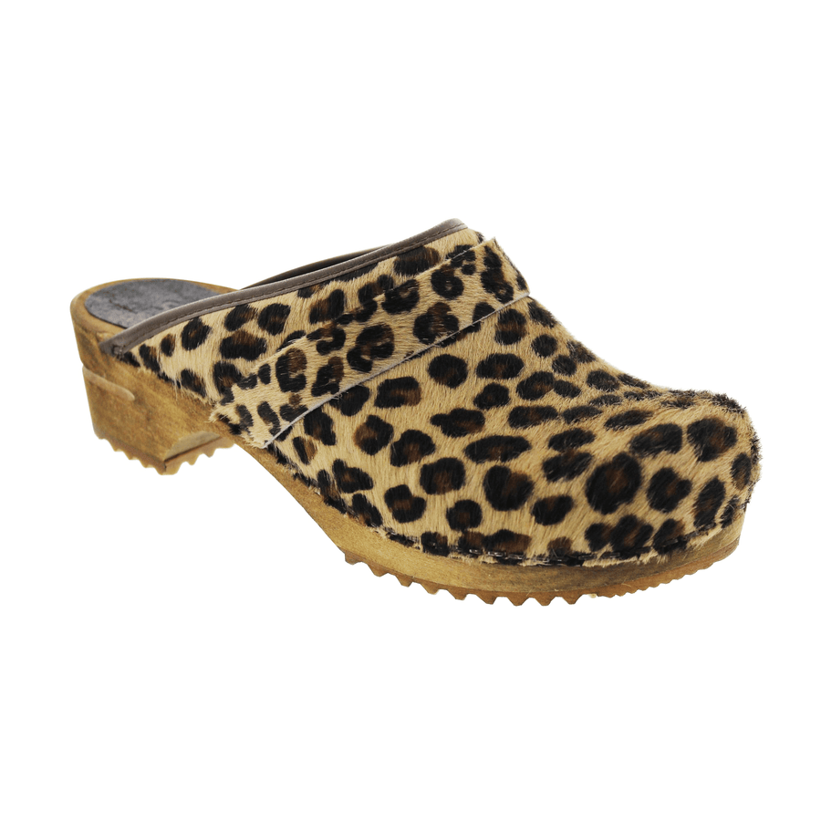 Sanita 1706199W-87-35 SANITA Caroline Safari Fur Open Back Wood Clogs Leopard / EU-35