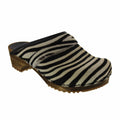Sanita 1706199W-88-38 SANITA Caroline Safari Fur Open Back Wood Clogs Zebra / EU-38