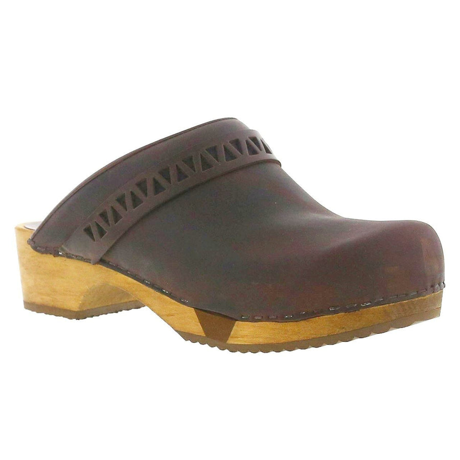 Sanita X455219-78-36 SANITA Frigga Open Back Wood Flex Oiled Leather Clogs (2nd) Antique Brown / EU-36