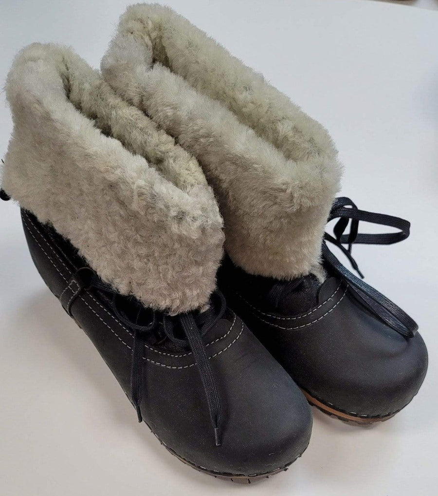 Sanita SANITA Fur and Lace Leather Wooden Clog Boots (Size 37 only)