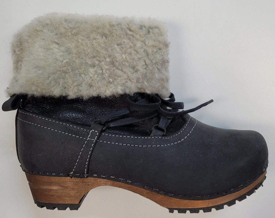 Sanita 37-1325 SANITA Fur and Lace Leather Wooden Clog Boots (Size 37 only) Black / EU-37