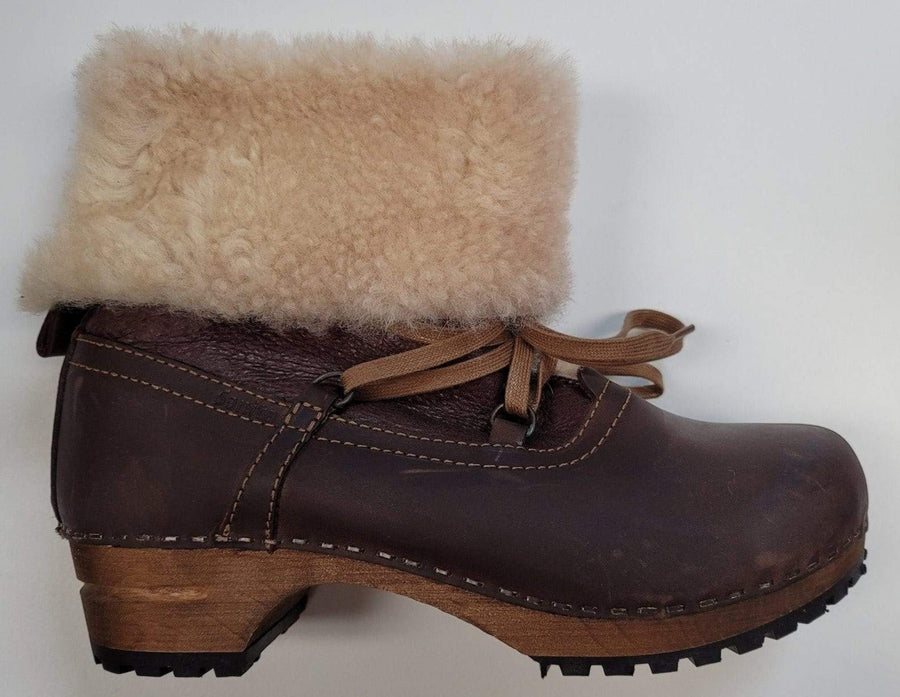 Sanita 37-528 SANITA Fur and Lace Leather Wooden Clog Boots (Size 37 only) Brown / EU-37