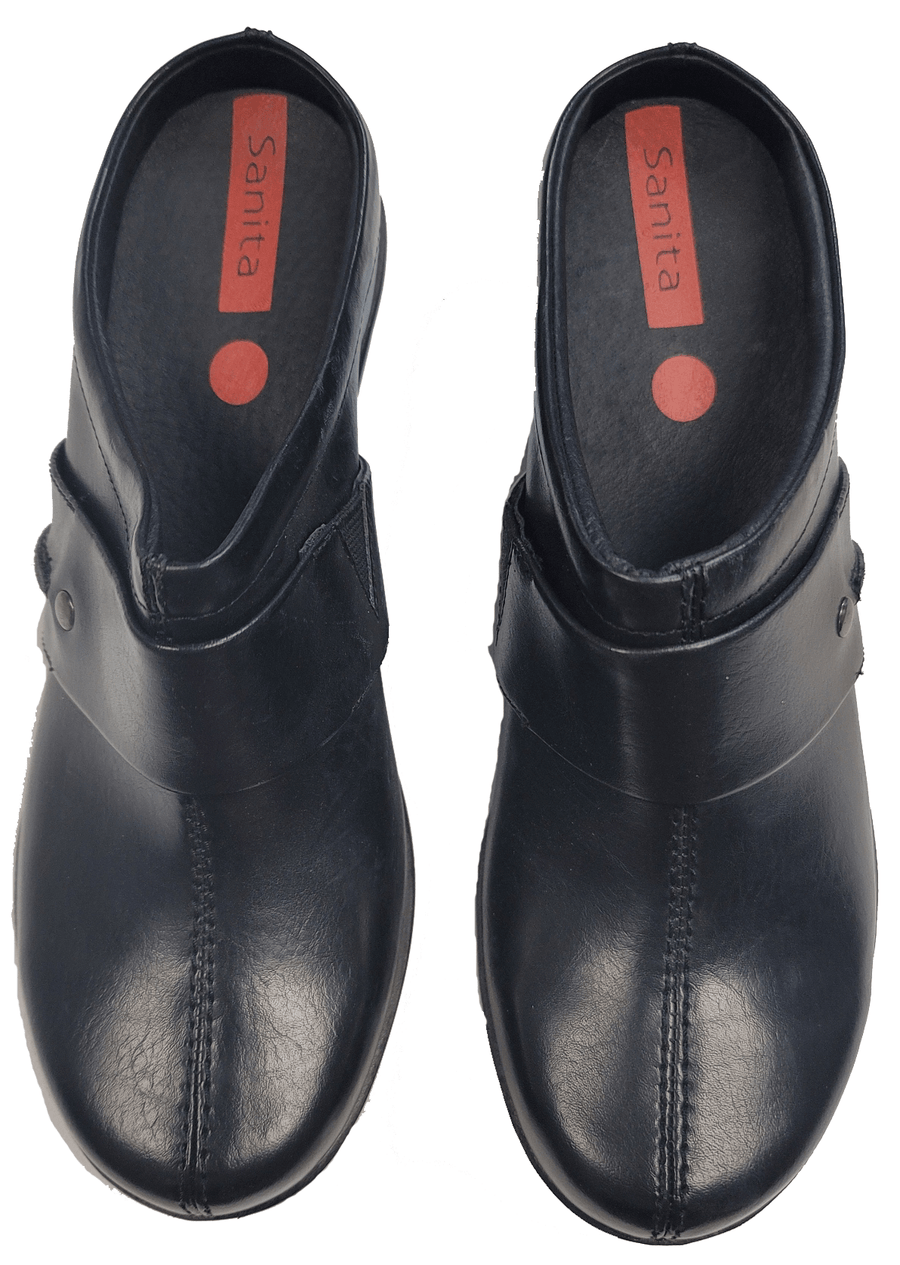 Sanita 466688-2-38 SANITA Icon Diana Platform Clog - Black Leather Black / EU-38