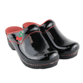 Sanita X454714-22-37 SANITA SONJA Open Back Black Patent Leather Clog w/Embroidery (2nd) - Size 37 Only Black / EU-37