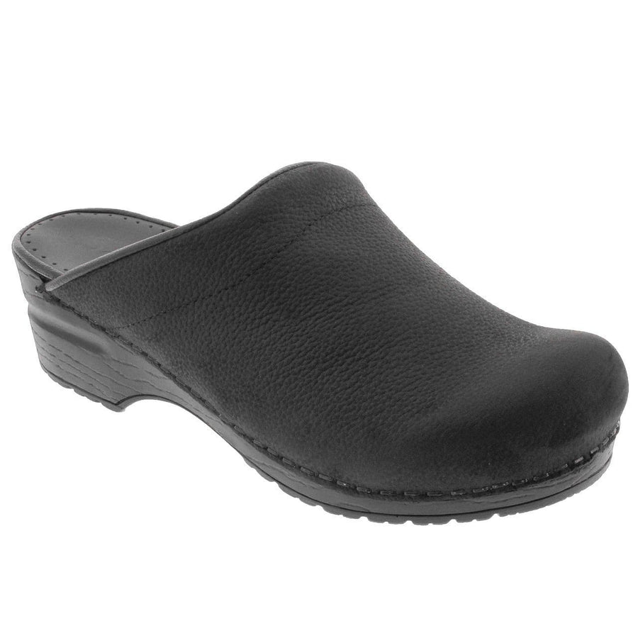 Sanita X450247-2-35 SANITA SONJA Open Back Oiled Leather Clogs (2nd) Black / EU-35