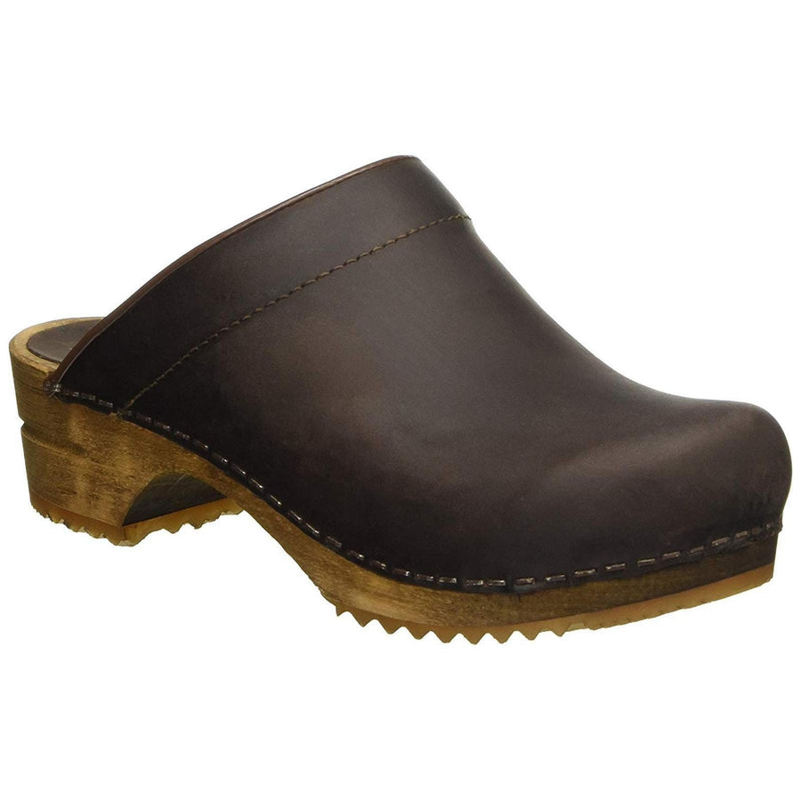 Sanita X1200009W-78-35 SANITA Women's Wood Classic Chrissy Open Back Oiled Leather Clog (2nd) Brown / EU-35