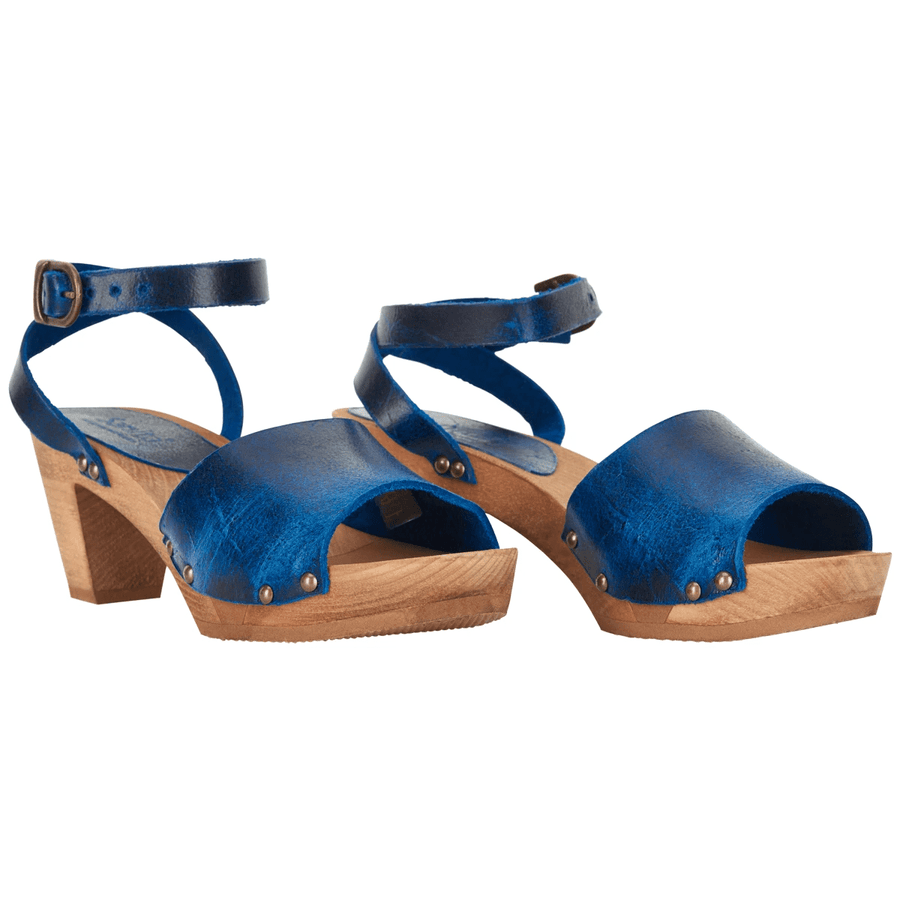 Sanita X459357-29-38 SANITA Yoleen Wood Flex Sandal in Vintage Leather (2nd) Blue / EU-38