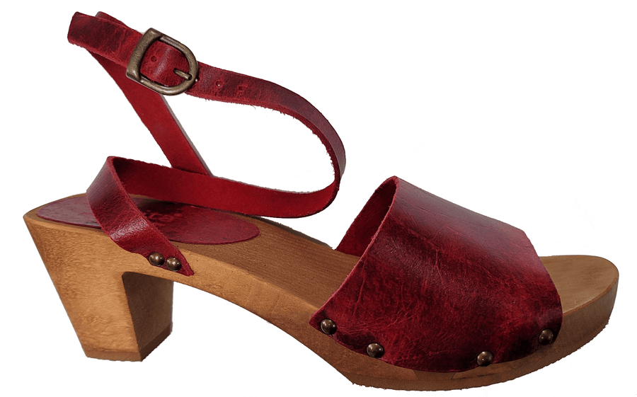 Sanita X459357-4-39 SANITA Yoleen Wood Flex Sandal in Vintage Leather (2nd) Red / EU-39