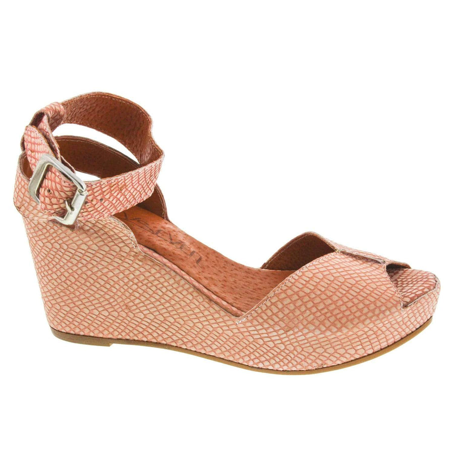 67 Sixty Seven 67 Coral Peep-toe Wedge Sandal <br> Leather - Made in Spain