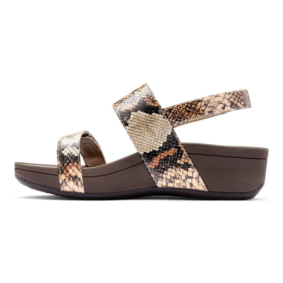 Vionic VIO-BOLTAN-060 VIONIC Bolinas Platform Sandals in Tan Snake Leather - Size 6 Tan / US-6