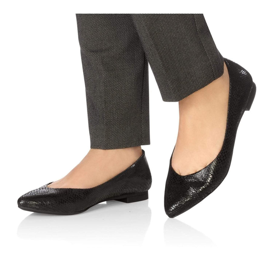 Vionic VIONIC Gem Caballo in Black Snake Leather Orthotic Support Flats
