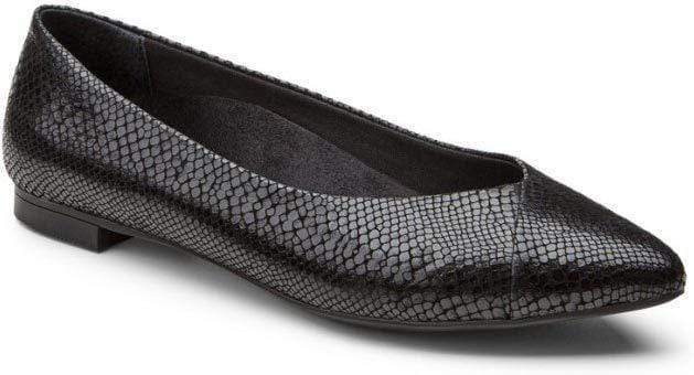 Vionic VIO-359CABBLK-060 VIONIC Gem Caballo in Black Snake Leather Orthotic Support Flats Black / US-6