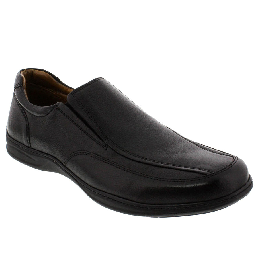 WALKING 1414102365-41 WALKING Men's Nathaniel Leather Slip On Shoes Black / EU-41