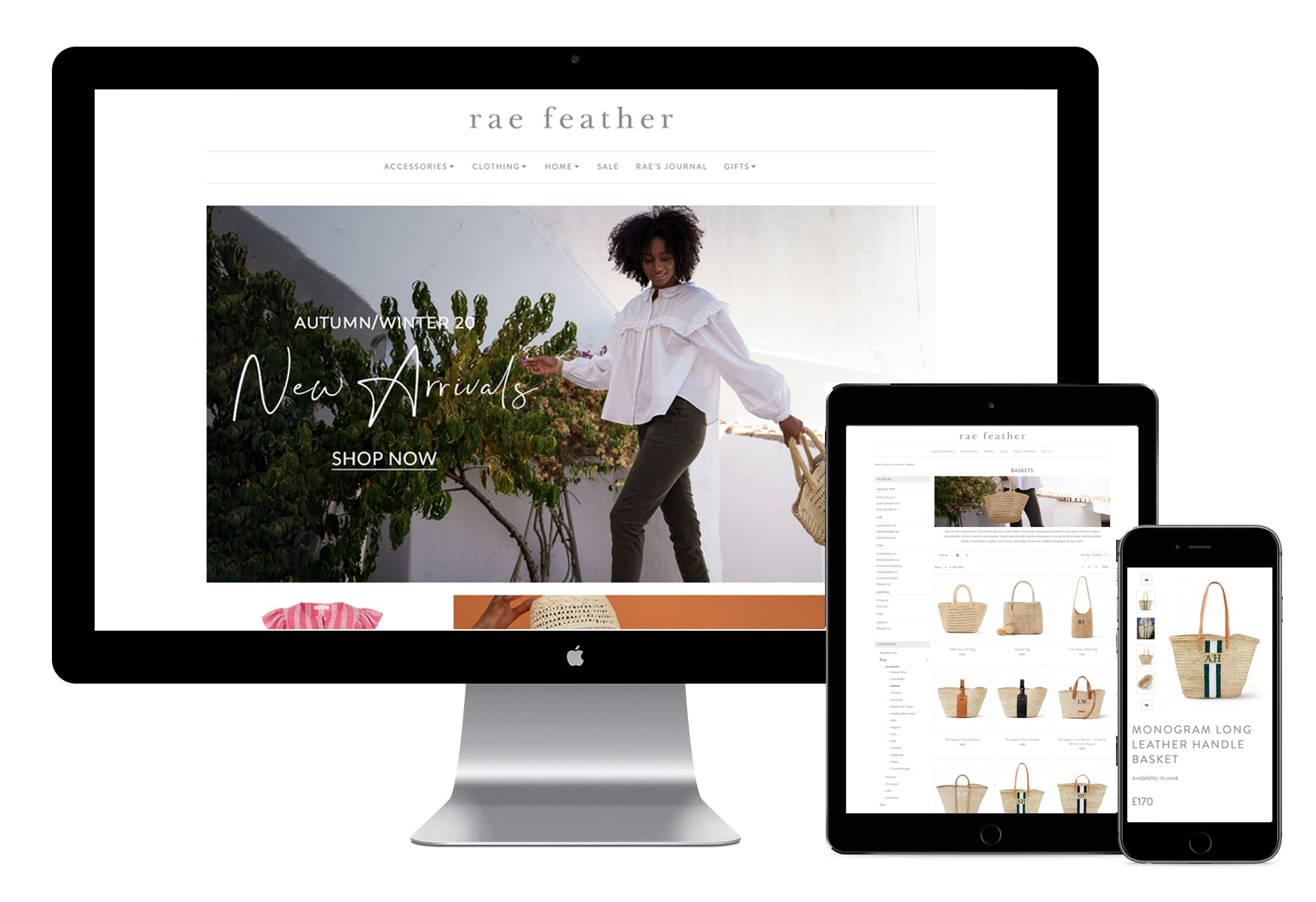 Rae Feather Desktop, Tablet and Mobile website design and development