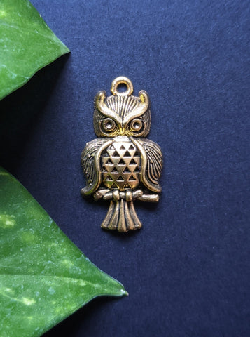 Golden Owl Metal Charm (Pack of 5)
