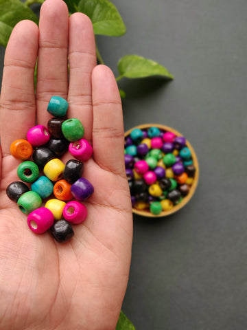Multicolour Round Wooden Beads - 12mm (Pack of 50)