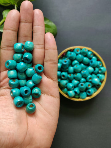 Turquoise Round Wooden Beads - 12mm (Pack of 50)