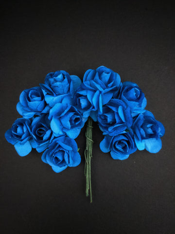 Azure Blue Paper Flowers - Pack of 12
