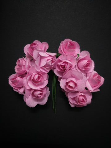 Baby Pink Paper Flowers - Pack of 12