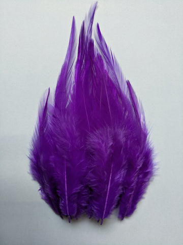Dark Violet - Long Pointed Natural Feathers (100 Pieces)
