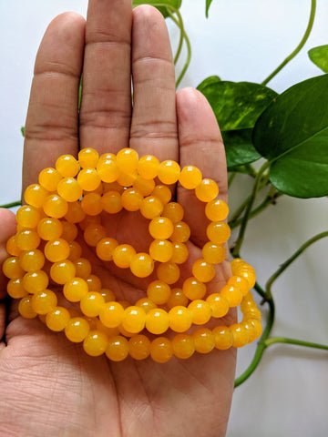 Yellow 8mm Glass Beads (100 beads)