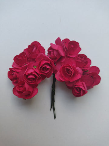 Fuchsia Paper Flowers - Pack of 12