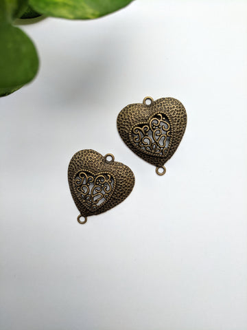 Heart Metal Charm (Pack of 2)