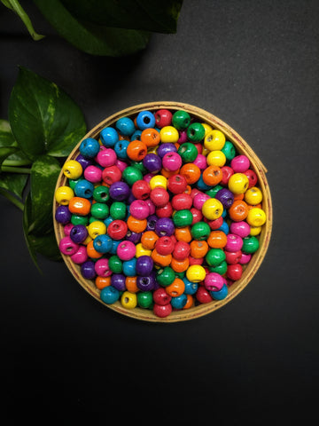 Multicolour Round Wooden Beads - 8mm (Pack of 200)