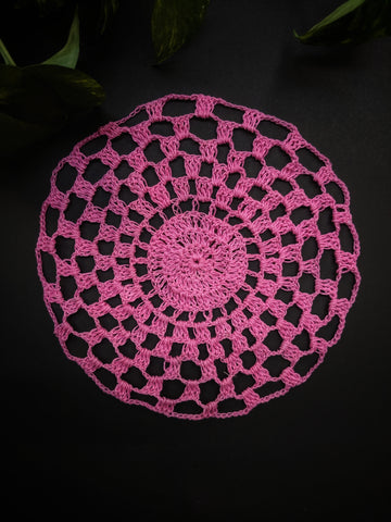"8"" inches Circular Pattern Pink Doily"