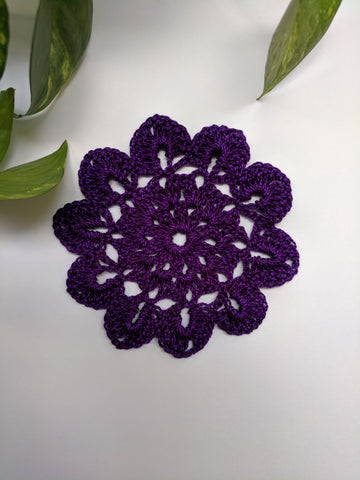 "3.5"" inches Flower Pattern Dark Purple Doily"
