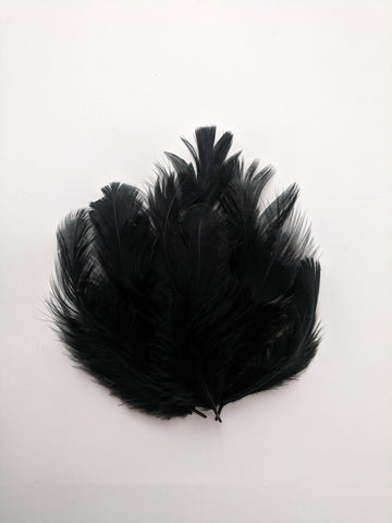 Black - Natural Small Feathers (100 Pieces)