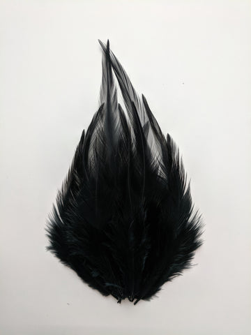 Black - Long Pointed Natural Feathers (100 Pieces)