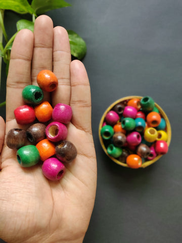 Multicolour Big Round Wooden Beads - 16mm (Pack of 50)
